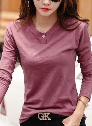 Solid Round Neck Long Sleeve Casual T-shirts