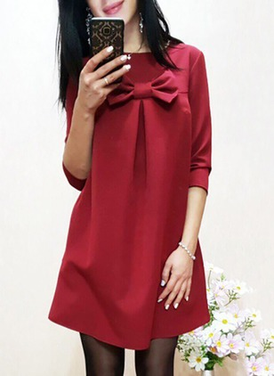 Cotton Solid Bow Long Sleeve A-line Dress