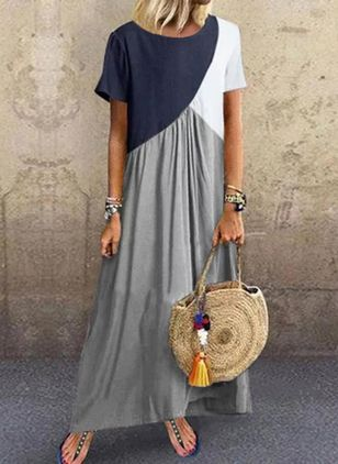 Color Block Tunic Round Neckline Maxi Shift, Dress