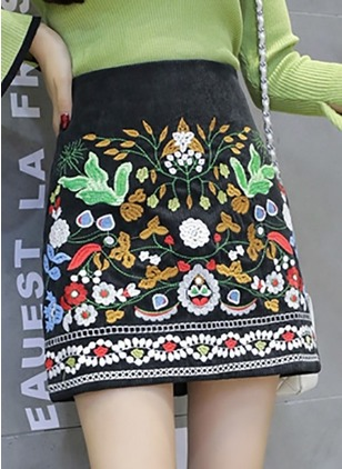 Cotton Floral Above Knee Casual Embroidery Skirts