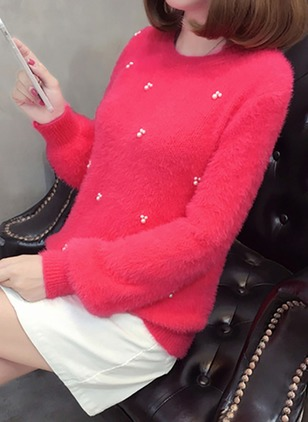 Round Neckline Solid Loose Regular Beading Sweaters