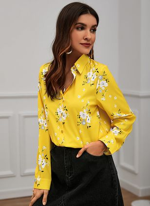 Floral Elegant Collar Long Sleeve Blouses (146650551)