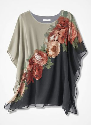 Floral Casual Round Neckline Short Sleeve Blouses (1365698)
