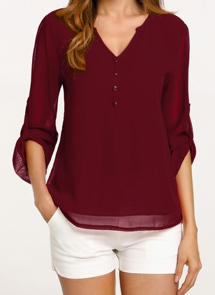 Solid Casual Chiffon V-Neckline Long Sleeve Blouses