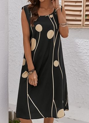 Casual Color Block Tunic Round Neckline Shift Dress (146979470)