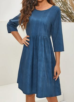 Casual Solid Tunic Round Neckline Shift Dress (122029221)