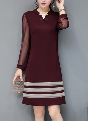 Solid Shirt Long Sleeve Above Knee A-line Dress