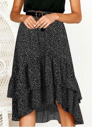Polka Dot Mid-Calf Casual Skirts (100547299)