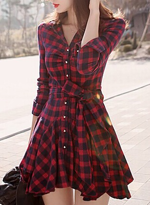 Bow Shirt Long Sleeve Mini A-line Dress