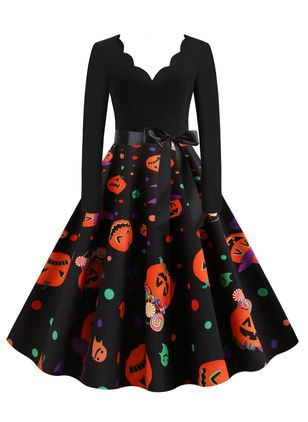 Halloween Color Block V-Neckline Midi X-line Dress (109973544)