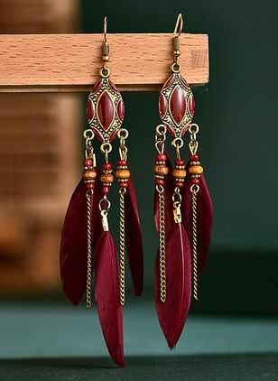 Casual Geometric Gemstone Dangle Earrings (147243951)