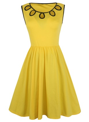 Cotton Solid Sleeveless Knee-Length A-line Dress