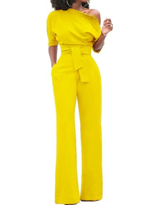 Solid Half Sleeve Jumpsuits & Rompers (1399251)