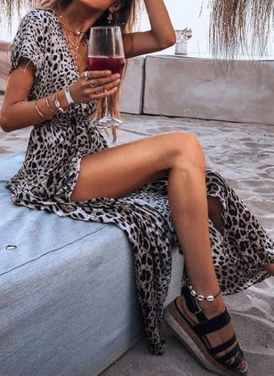 Casual Leopard Pencil V-Neckline X-line Dress (101241513)