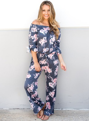 Polyester Floral Long Sleeve Backless Jumpsuits & Rompers