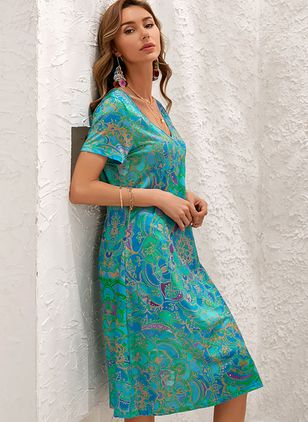 Boho Floral V-Neckline Short Sleeve Maxi Dress (107423166)