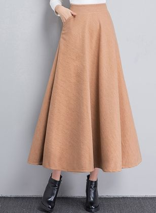 Solid Maxi Elegant Pockets Skirts (107805017)