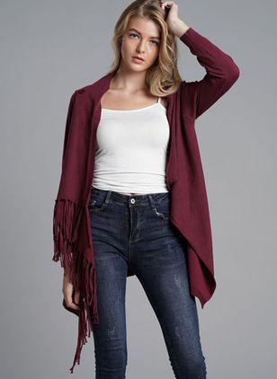 Others Solid Cape Loose Regular Tassel Sweaters