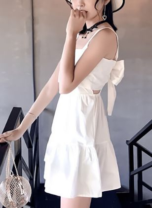 Solid Ruffles Sleeveless Above Knee A-line Dress