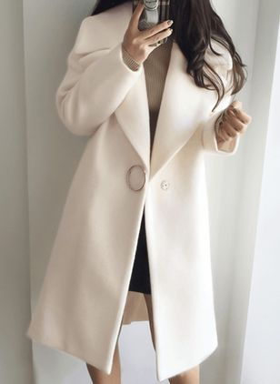 Long Sleeve Lapel Buttons Trench Coats (1382061)