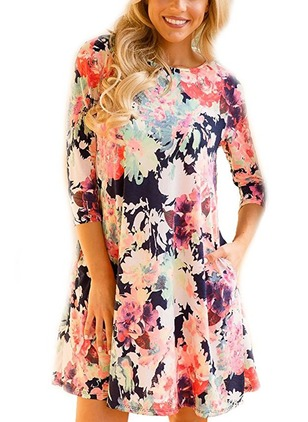 Floral Embroidery Skater Half Sleeve A-line Dress