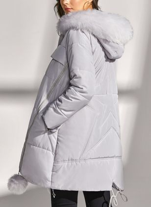 Long Sleeve Hooded Removable Fur Collar Padded Coats (1382062)