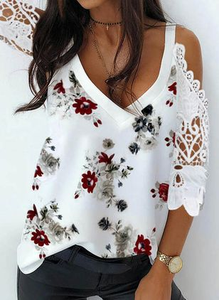 Floral Casual V-Neckline 3/4 Sleeves Blouses (107520414)
