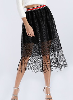 Spandex Solid Mid-Calf Casual Tassel Skirts