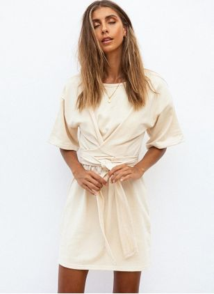 Solid Short Sleeve Above Knee X-line Dress