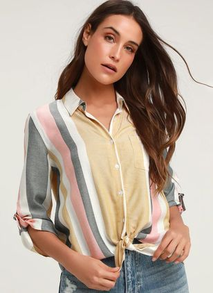 Stripe Casual Collar Half Sleeve Blouses