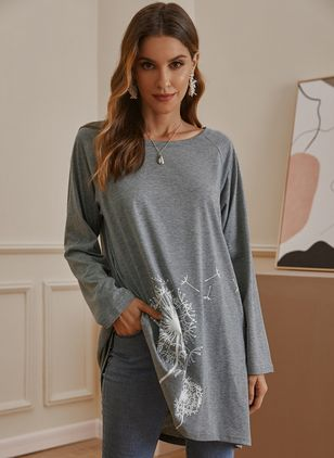 Floral Round Neck Long Sleeve Casual T-shirts (128229580)