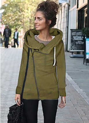 Polyester Long Sleeve Funnel Neck Pockets Coats