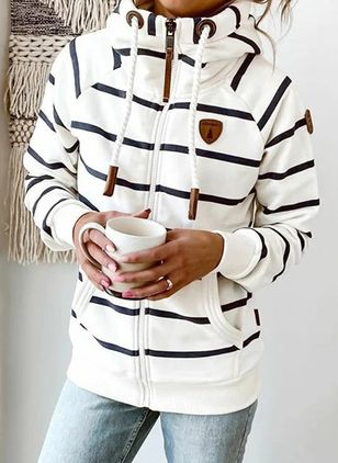 Stripe Draped Neckline Long Sleeve Spring T-shirts (146643162)