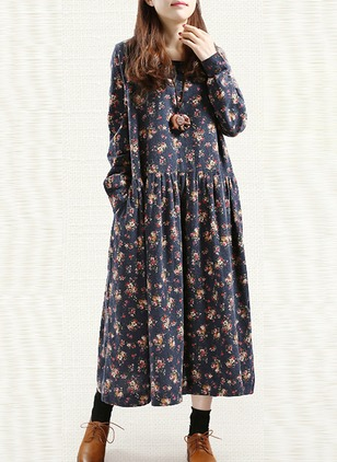 Cotton Floral Long Sleeve Midi Shift Dress