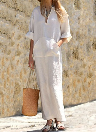 Solid 3/4 Sleeves Maxi Shift Dress