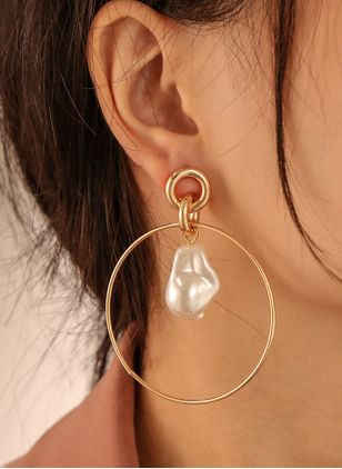 Elegant Round Pearls Dangle Earrings (146744683)