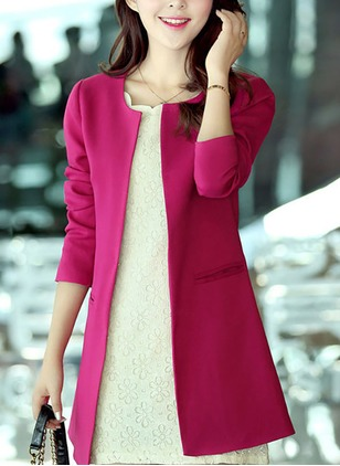 Polyester Long Sleeve Round Neck Pockets Blazers Coats & Jackets