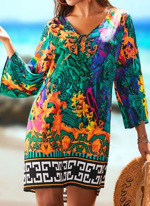 Polyester High Neckline Pattern Cover-Ups Swimwear (1501350)