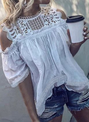 Solid Casual High Neckline Half Sleeve Blouses
