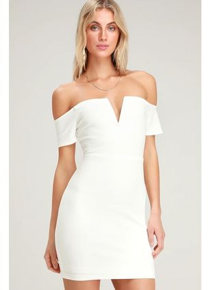 Solid Pencil Short Sleeve Above Knee Bodycon Dress