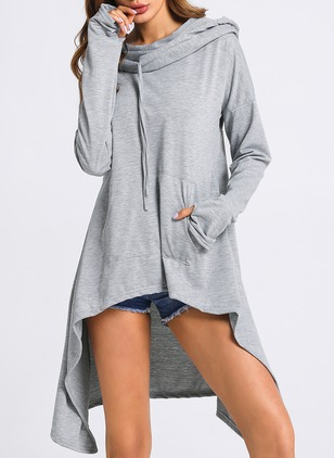 Solid Pockets Long Sleeve High Low Dress