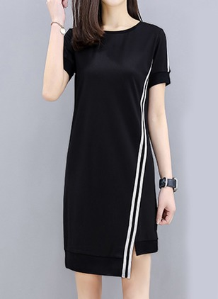 Color Block Tshirt Short Sleeve Knee-Length Shift Dress