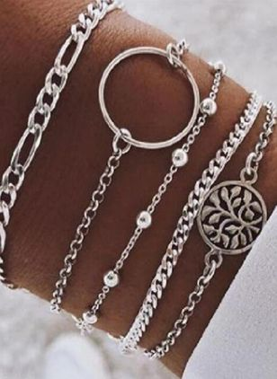 Casual Floral Round No Stone Link Bracelets (107562966)