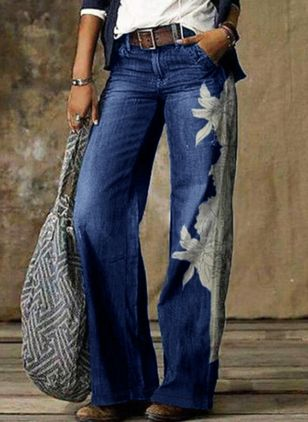 Casual Loose Pattern Pockets Mid Waist Polyester Jeans Pants (146812261)
