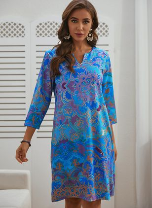 Casual Floral Tunic V-Neckline Shift Dress (146650448)