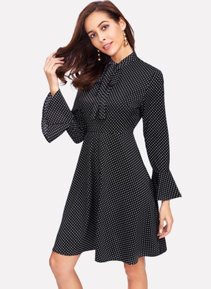 Polyester Polka Dot Long Sleeve Knee-Length Dresses
