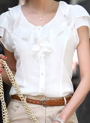 Solid Casual Polyester Round Neckline Short Sleeve Blouses