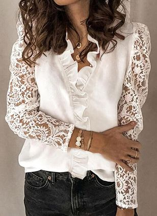 Floral Casual V-Neckline Long Sleeve Blouses (146794907)
