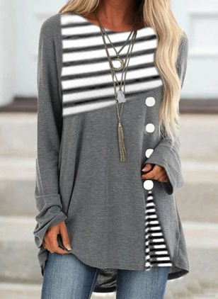 Stripe Round Neck Long Sleeve Casual T-shirts (111852913)