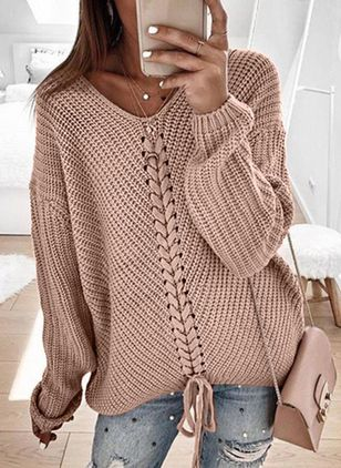 V-Neckline Solid Casual Loose Regular Shift Sweaters (107251348)